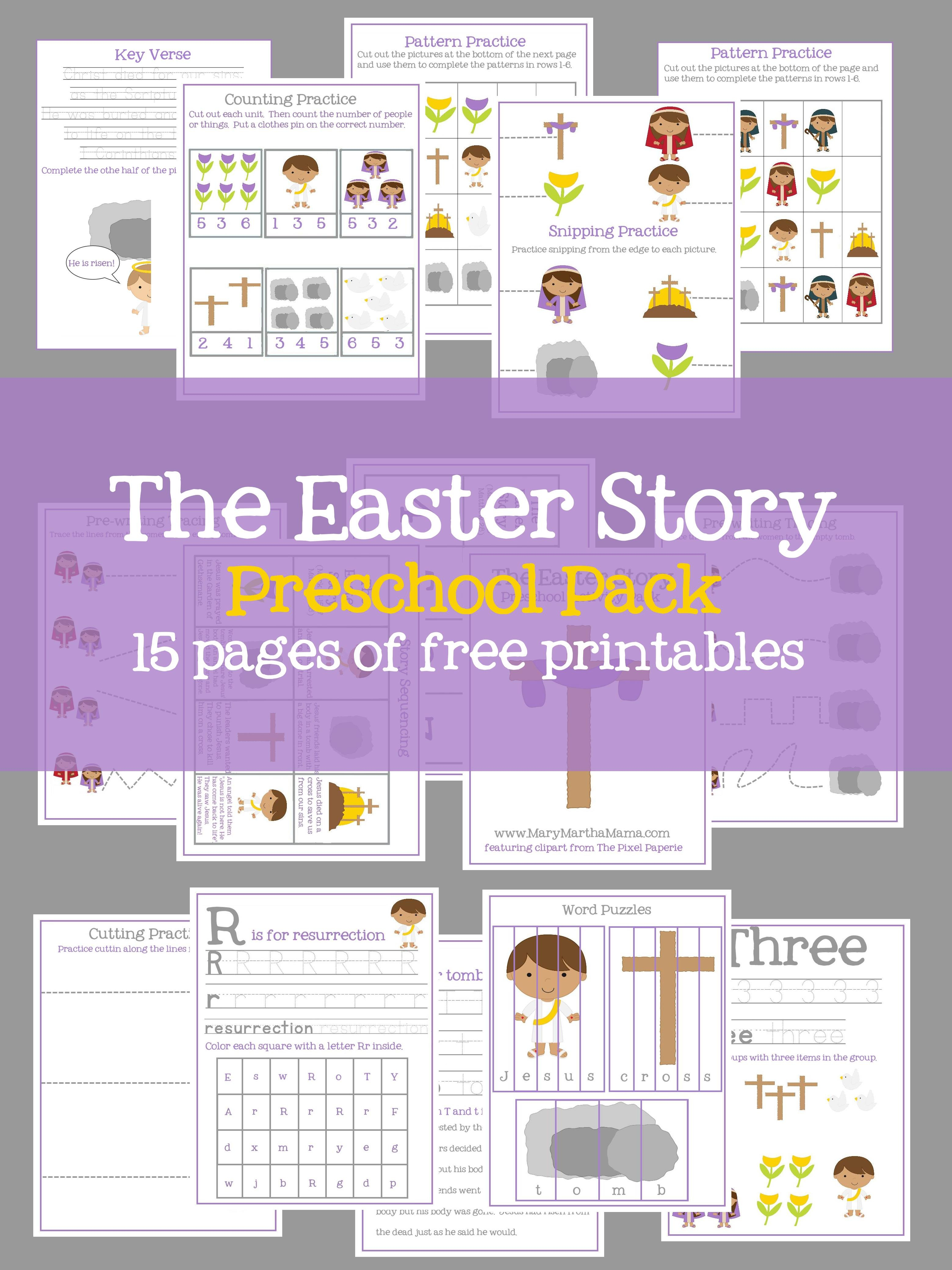 Easter Preschool Pack Of Printables – Mary Martha Mama - Free Printable Stories For Preschoolers