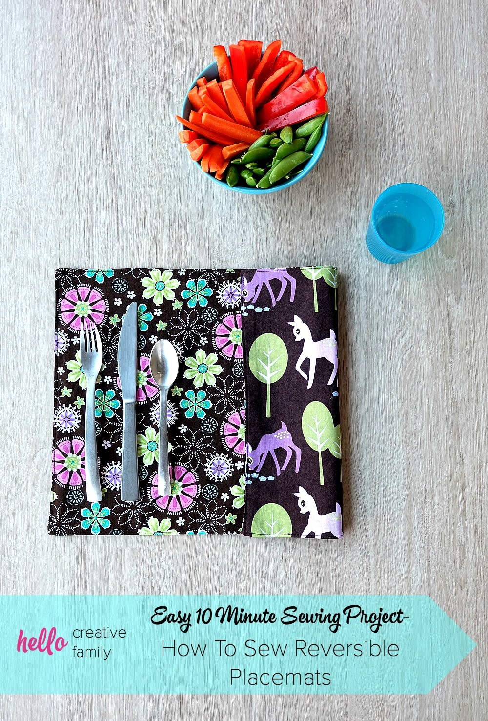 Easy 10 Minute Sewing Project- How To Sew Reversible Placemats - Free Printable Placemat Patterns