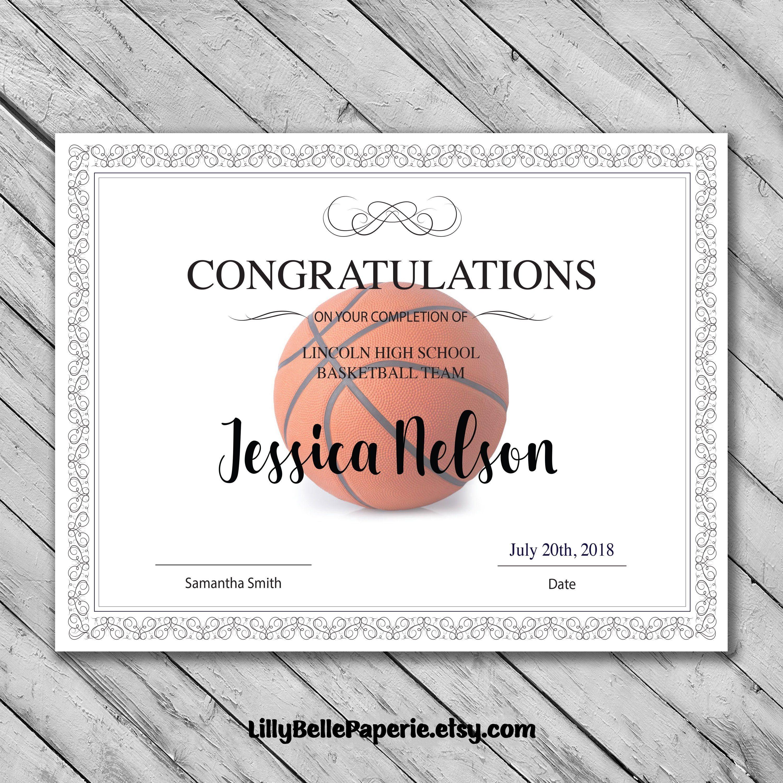 Editable Basketball Certificate Template - Printable Certificate - Basketball Participation Certificate Free Printable