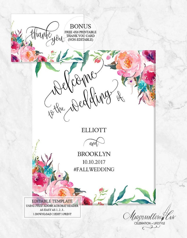 Editable Boho Wedding Signs Template Wedding Welcome Entrance | Etsy - Free Printable Welcome Sign Template