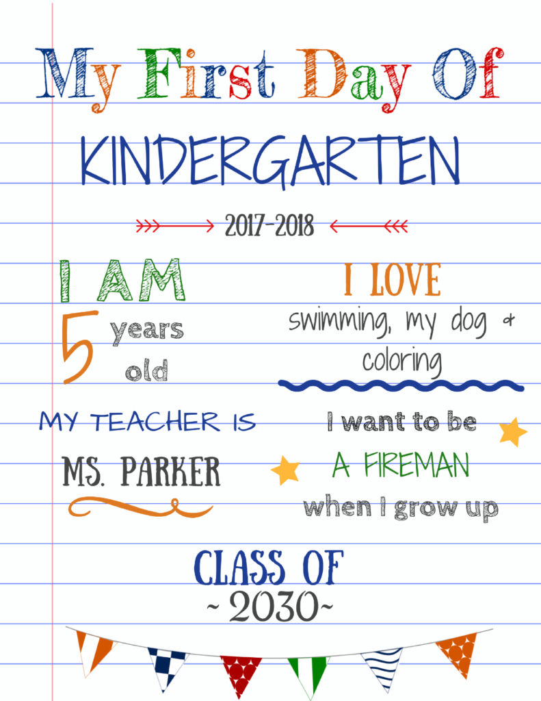 Editable First Day Of School Signs To Edit And Download For Free - My First Day Of Kindergarten Free Printable