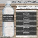 Editable Graduation Party Water Bottle Labels | Decorations   Free Printable Water Bottle Labels Graduation