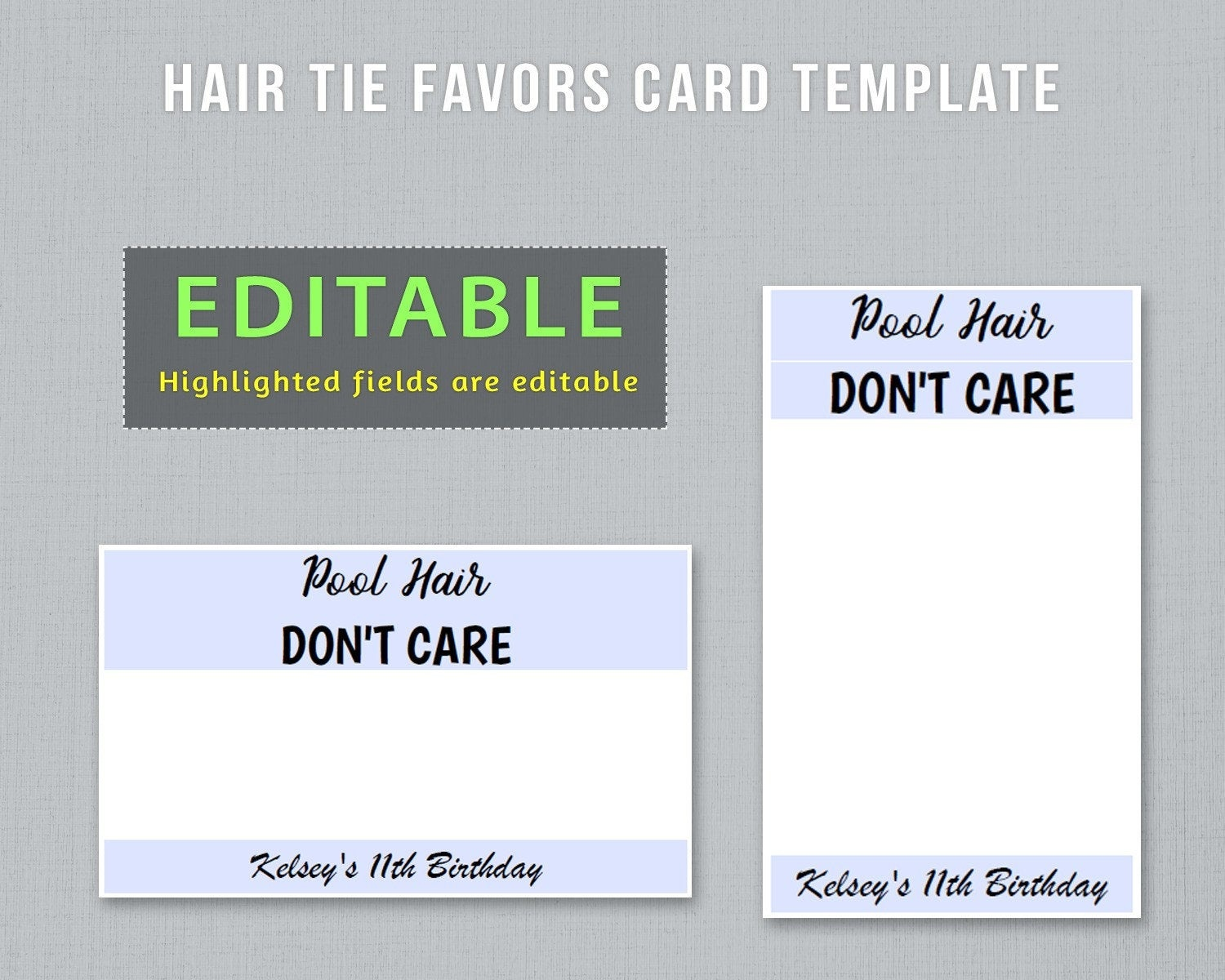 Editable Hair Tie Favors Card Template To Have And To Hold | Etsy - To Have And To Hold Your Hair Back Free Printable