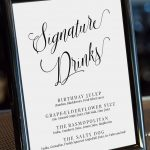 Editable Signature Drinks Sign, Drinks Menu Template, Calligraphy   Free Printable Drink Menu Template