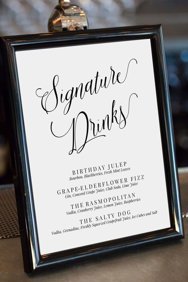 Editable Signature Drinks Sign, Drinks Menu Template, Calligraphy - Free Printable Drink Menu Template