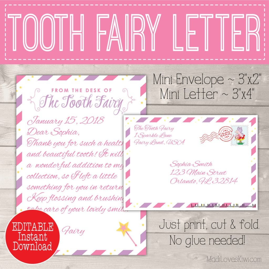 Editable Tooth Fairy Letter With Envelope | Printable Pink & Purple - Free Printable Tooth Fairy Letter And Envelope