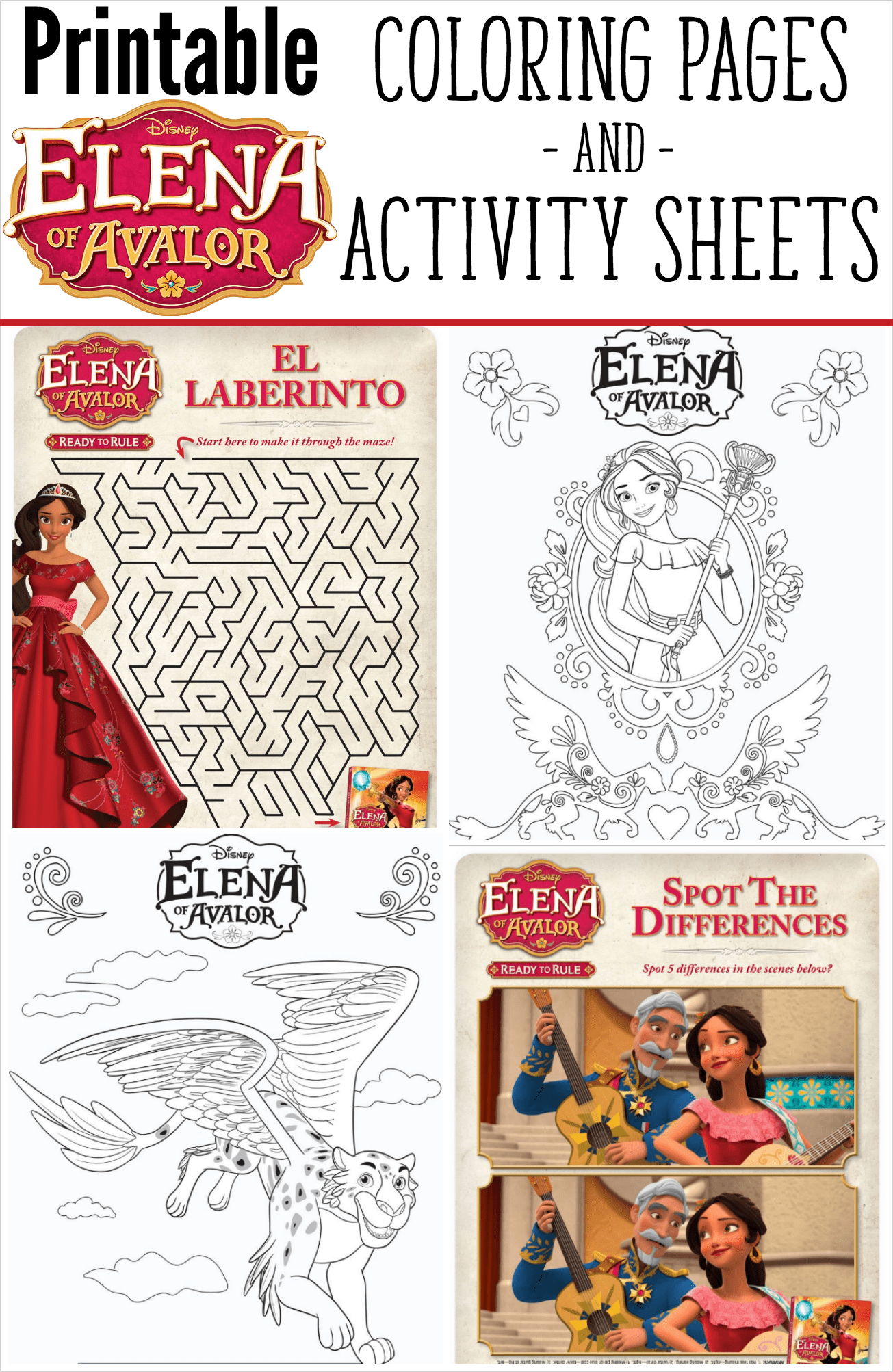 Elena Of Avalor Coloring Pages And Activity Sheets - Elena Of Avalor Free Printables