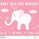 Elephant And Clouds. Baby Girl Birth Announcement Card Template   Free Printable Baby Birth Announcement Cards