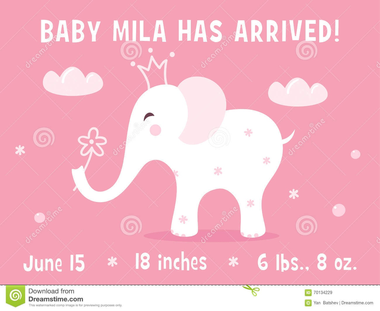 Elephant And Clouds. Baby Girl Birth Announcement Card Template - Free Printable Baby Birth Announcement Cards