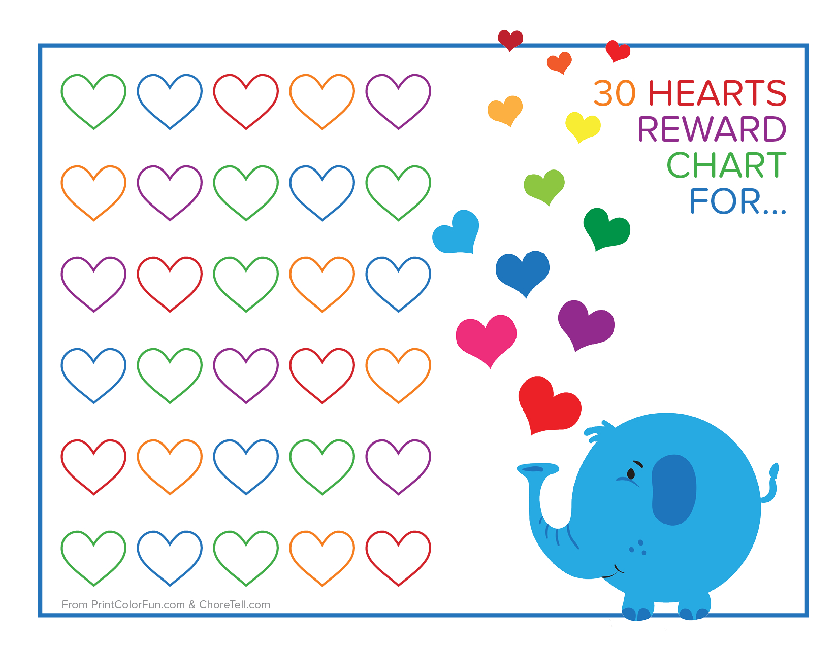 Elephant And Rainbow Hearts Reward Chart - Free Printable Downloads - Free Printable Reward Charts