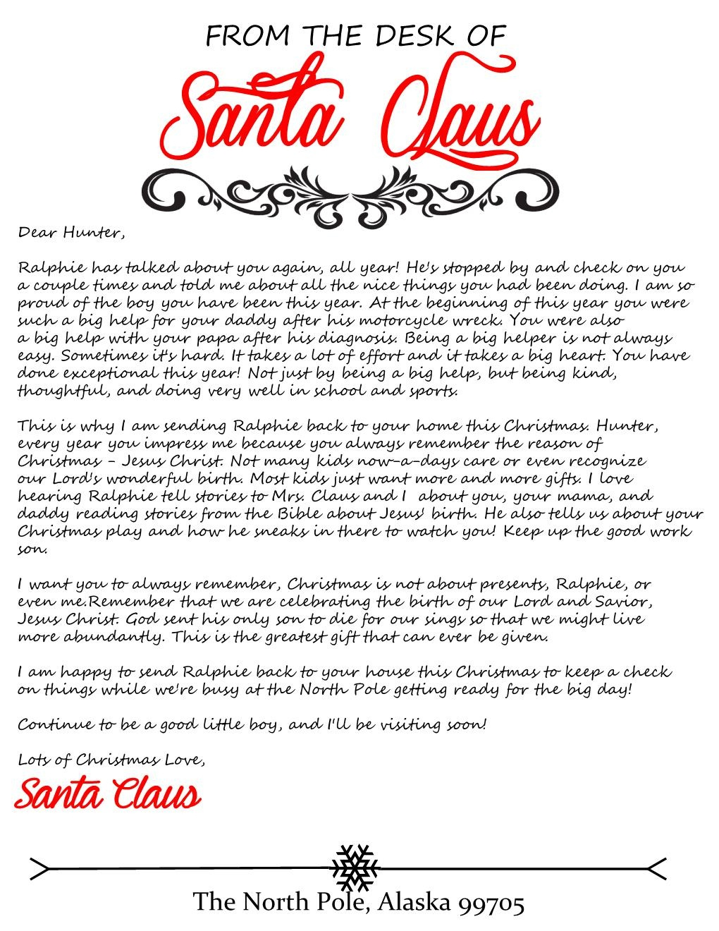 Elf Arrival Letter For Elf On The Shelf - Honeysuckle Footprints - Free Personalized Printable Letters From Santa Claus