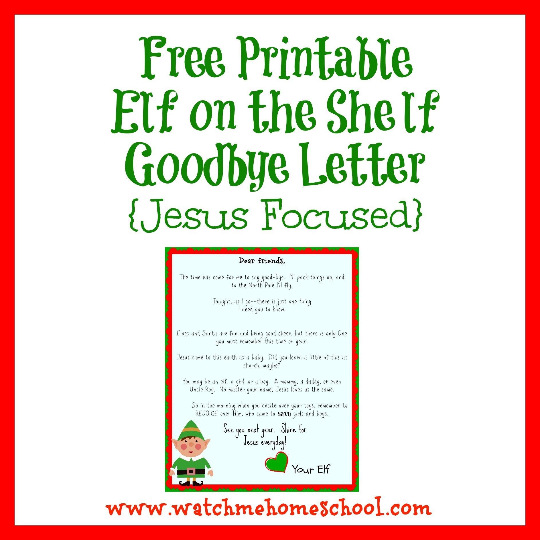 Elf On The Shelf Farewell Letter Printable | Elf On The Shelf | Elf - Elf On A Shelf Goodbye Letter Free Printable