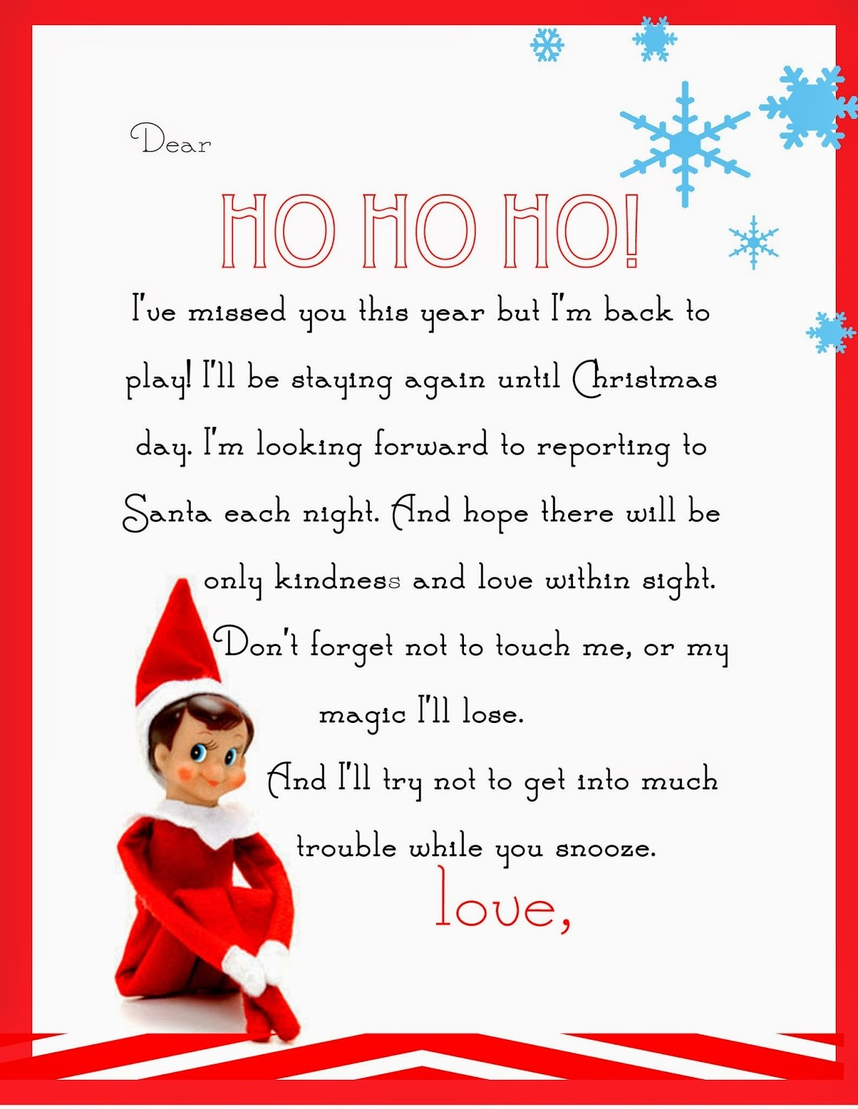 Elf On The Shelf Letter {Free Printable} - Free Printable Elf On The Shelf Notes