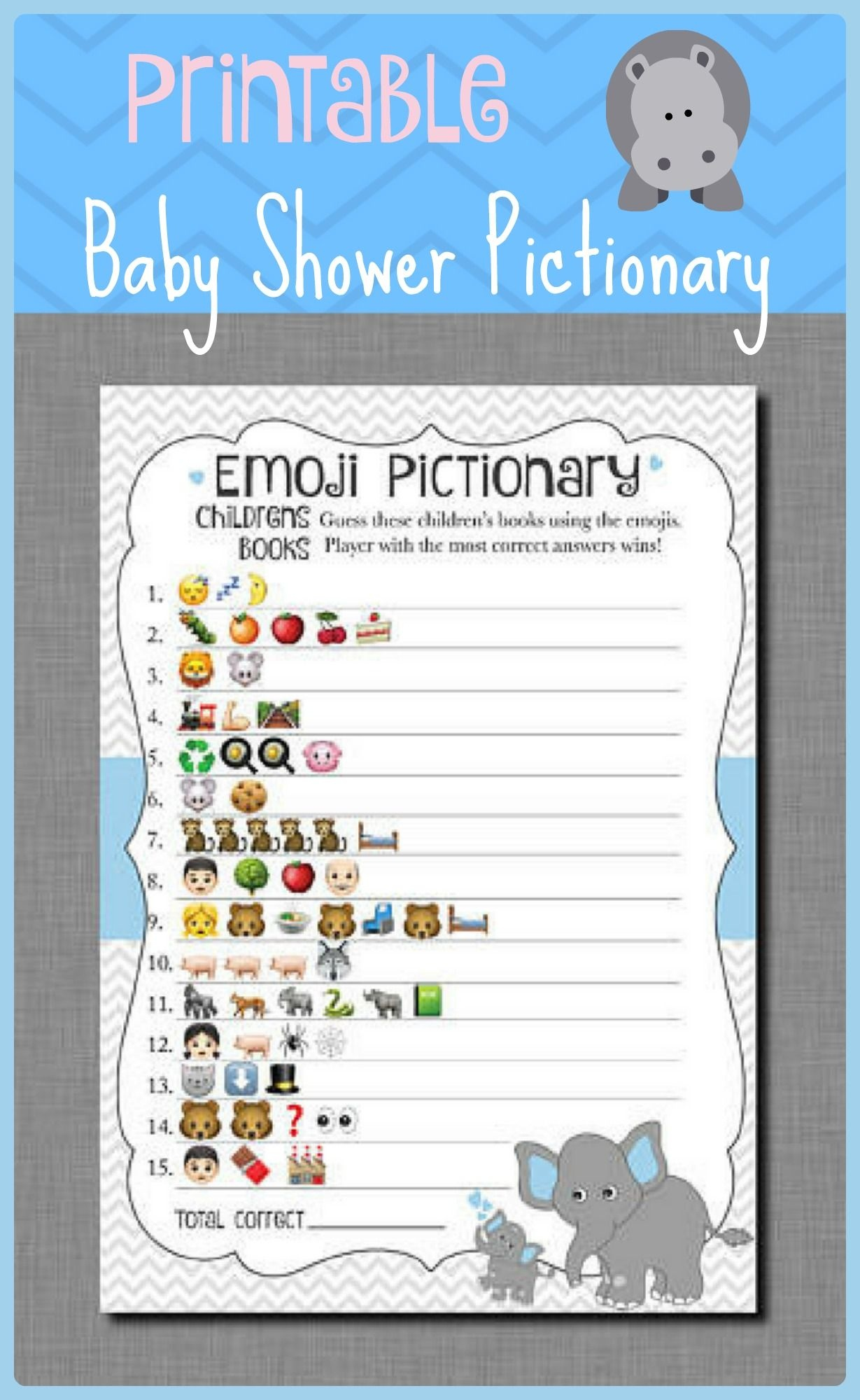 Emoji Baby Shower Game Printable, Elephant Emoji Pictionary - Emoji Baby Shower Game Free Printable