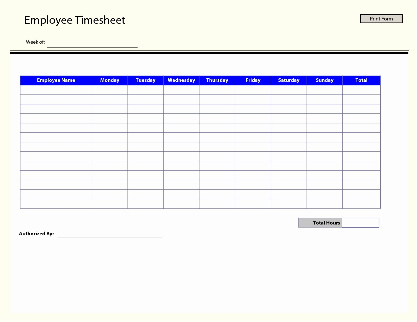 Employee Weekly Timesheet Template Excel Archives - Mavensocial.co - Timesheet Template Free Printable