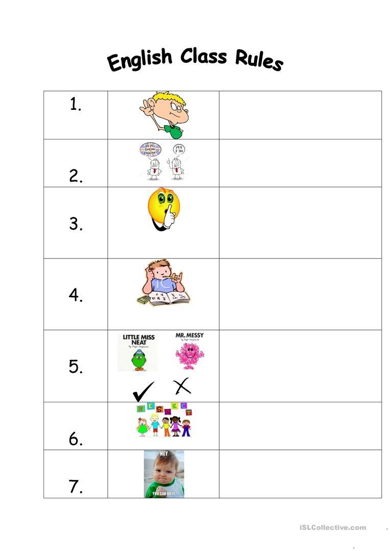 English Class Rules Worksheet - Free Esl Printable Worksheets Made - Free Printable Classroom Rules Worksheets