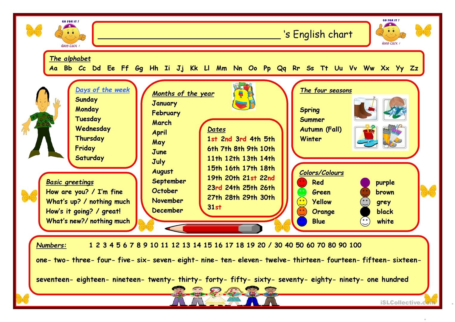 English (Wall) Chart Worksheet - Free Esl Printable Worksheets Made - Free Printable Months Of The Year Chart