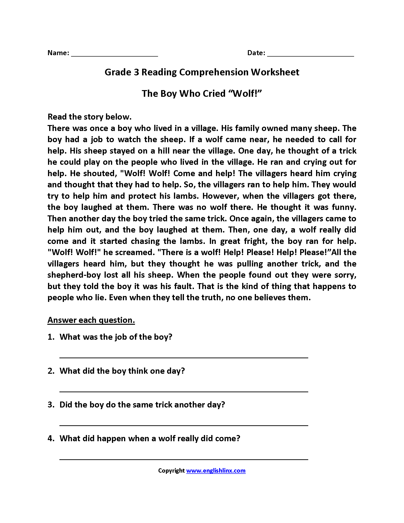 English Worksheets | Reading Worksheets - Free Printable 3Rd Grade Reading Worksheets
