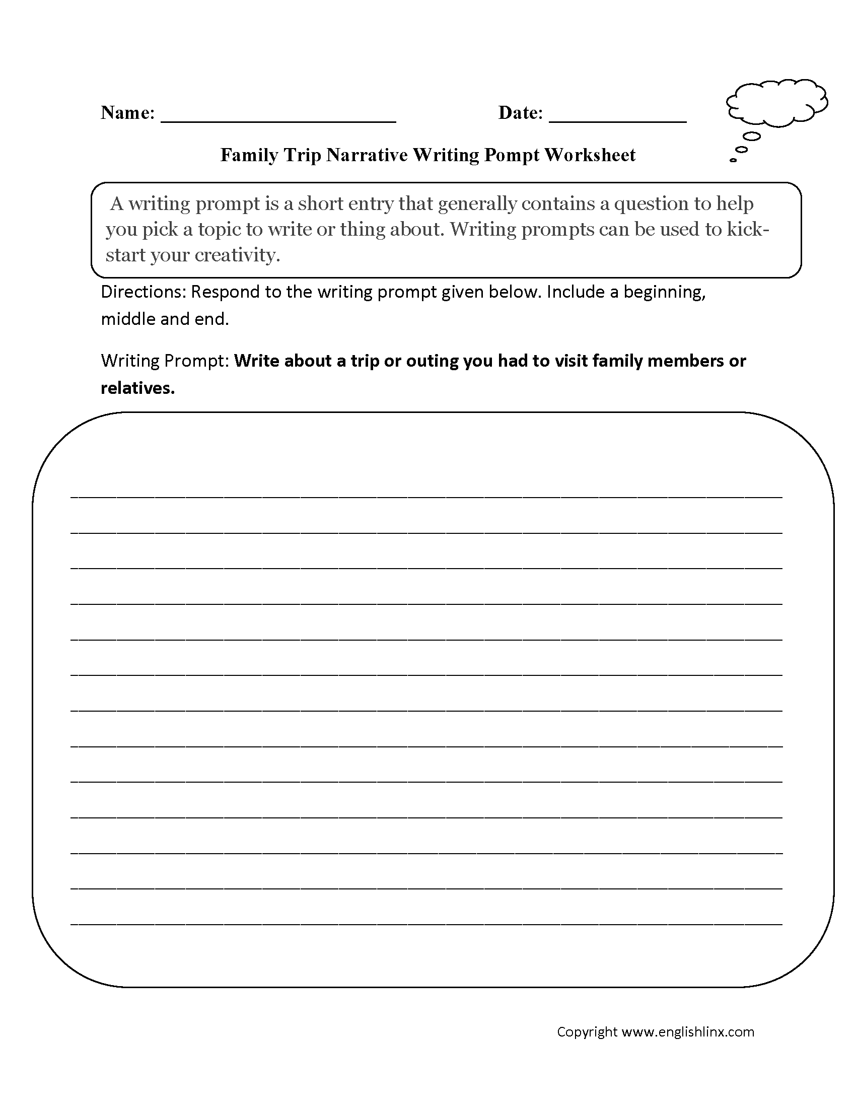 Englishlinx | Writing Prompts Worksheets - Free Printable Writing Prompts For Middle School