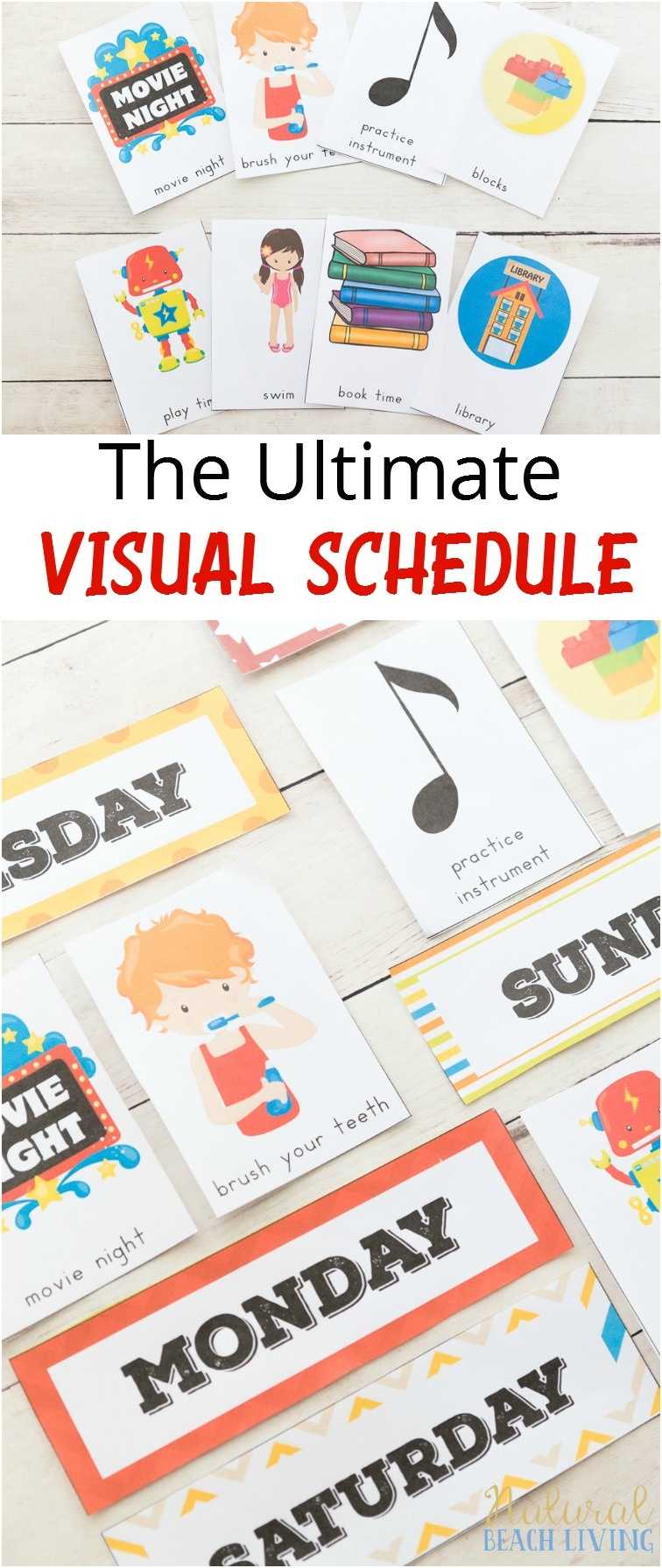 Extra Daily Visual Schedule Cards Free Printables - Natural Beach Living - Free Printable Picture Schedule Cards