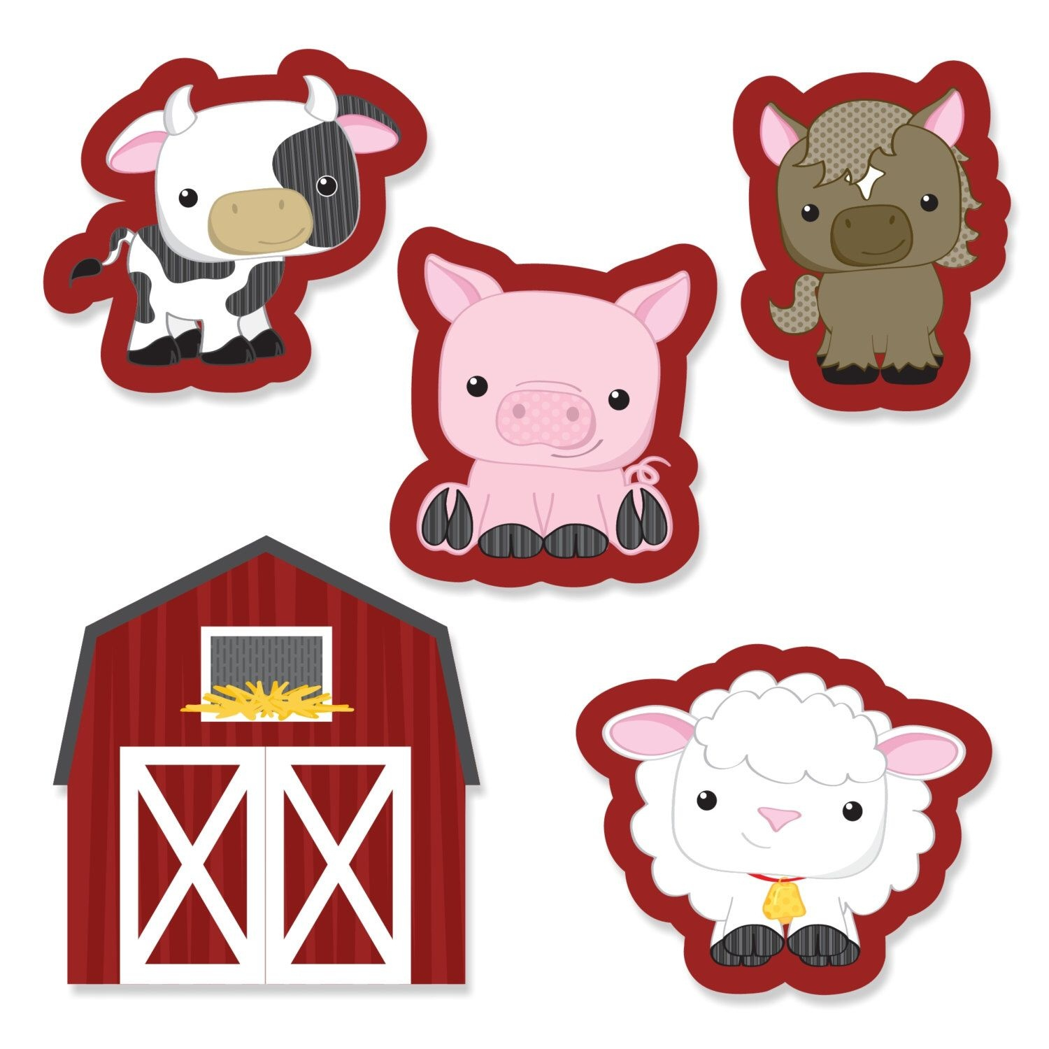 Farm Animals Diy Shaped Paper Cut Outs - Baby Shower Or Birthday - Free Printable Farm Animal Cutouts