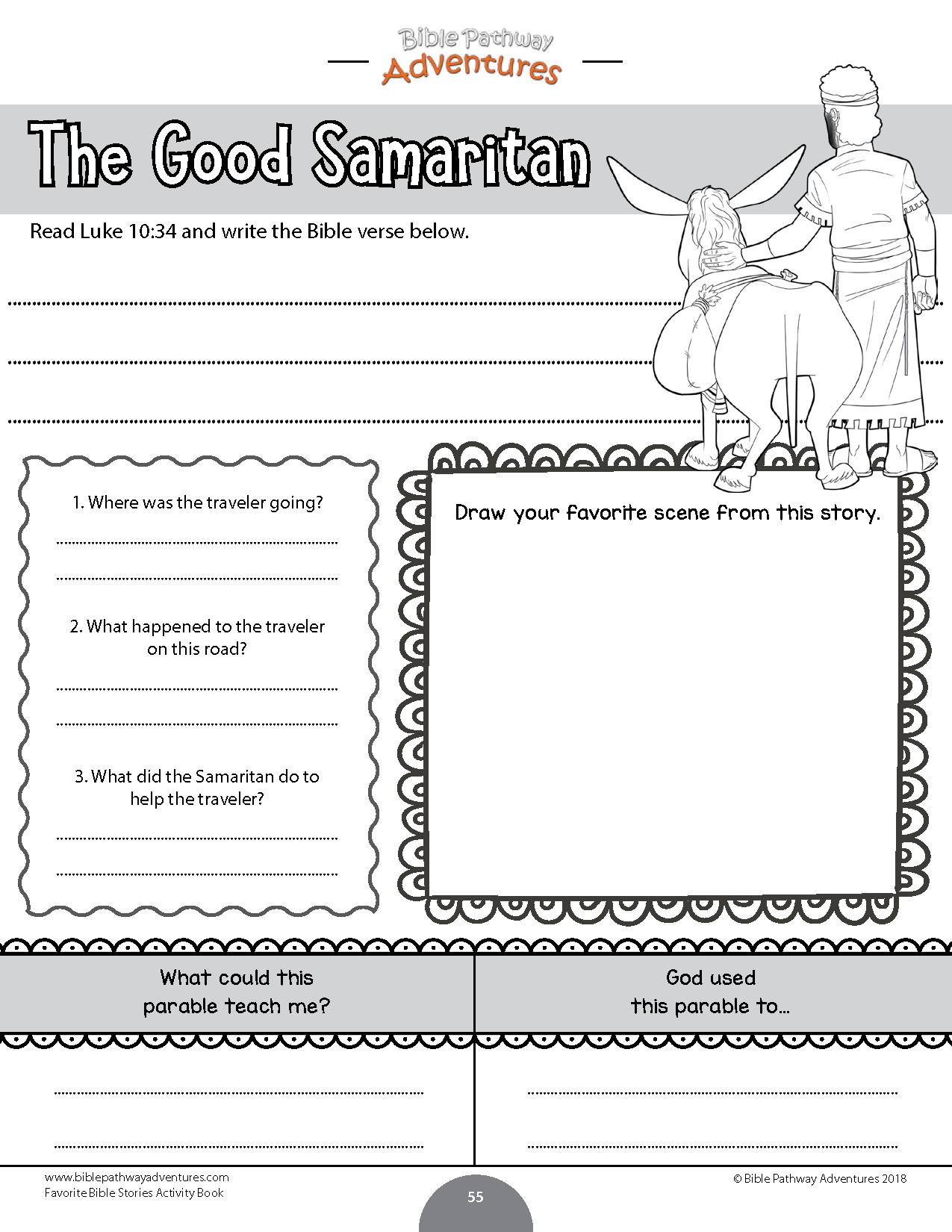 Favorite Bible Stories Coloring Activity Book | Catholic Crafts - Sunday School Activities Free Printables