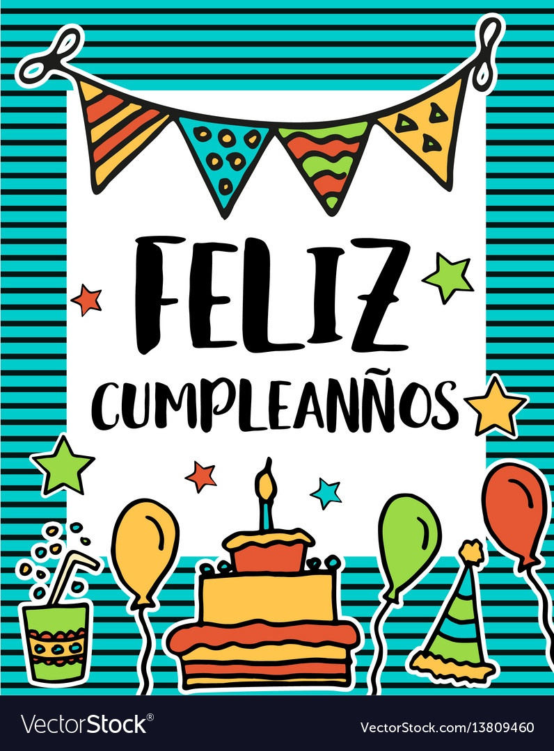 Feliz Cumpleanos Happy Birthday In Spanish Vector Image - Free - Free Printable Happy Birthday Cards In Spanish