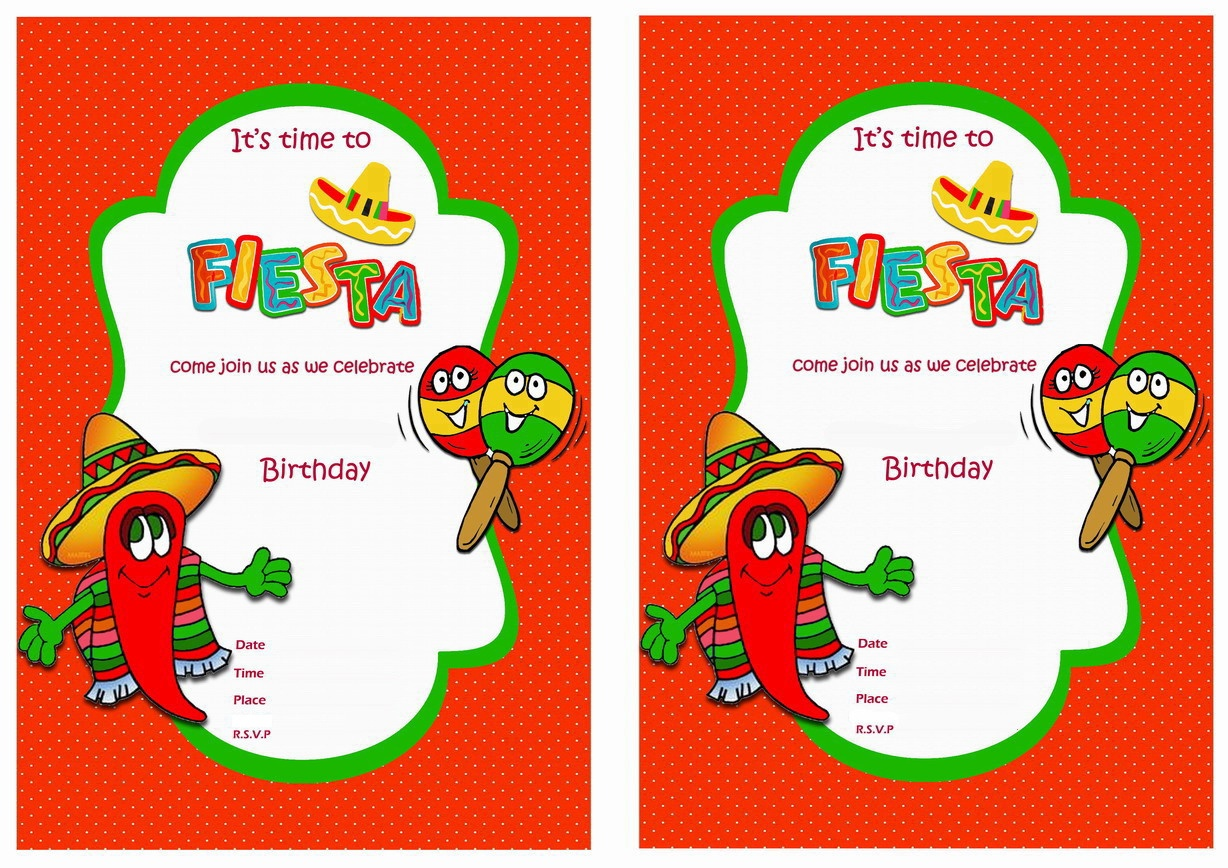 Fiesta Mexican Birthday Invitations | Birthday Printable - Free Printable Fiesta Invitations