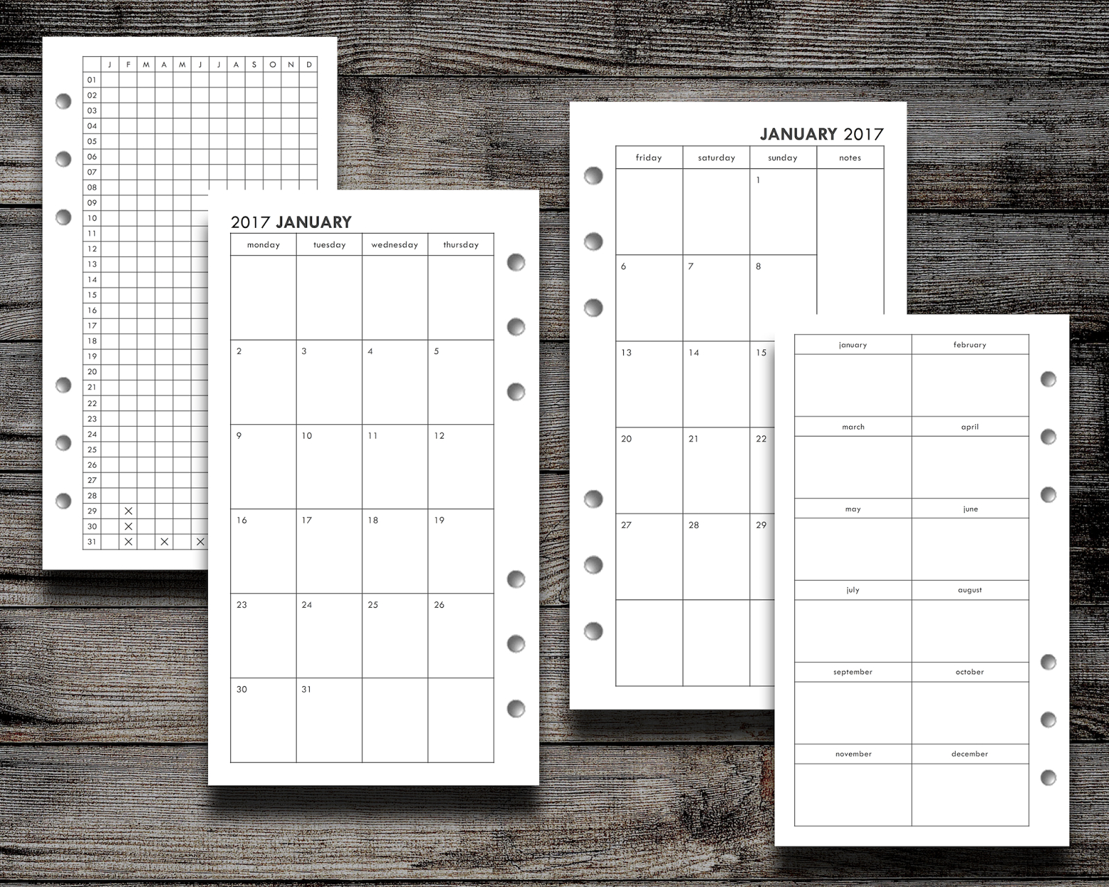 Filofax Freebie: 2017 Month On Two Page (Personal, Pocket, And Half - Free Filofax Printables 2017
