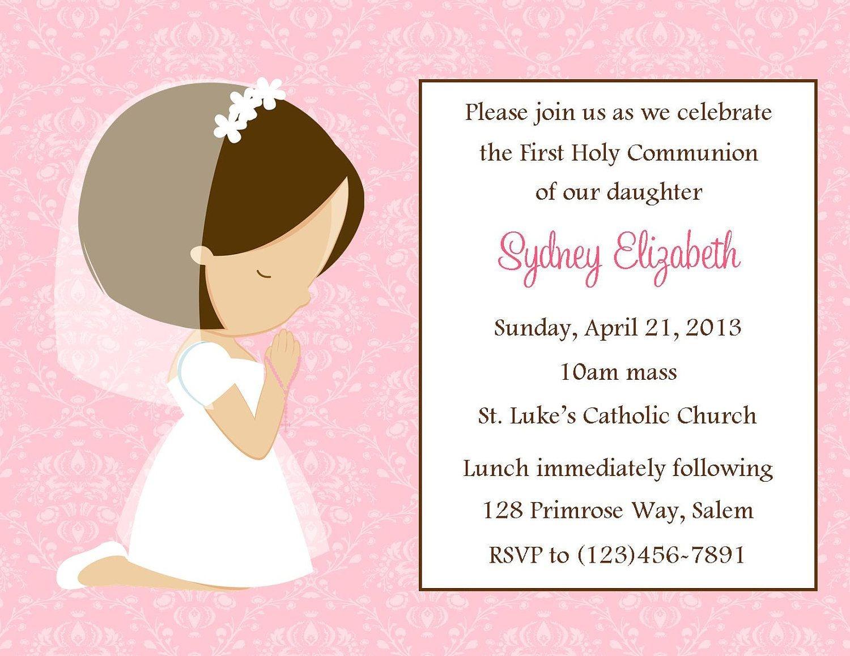 First Communion Invitation - Girl (Digital File) / 1St Communion - First Holy Communion Cards Printable Free