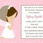 First Communion Invitation   Girl (Digital File) / 1St Communion   Free Printable First Communion Invitation Cards