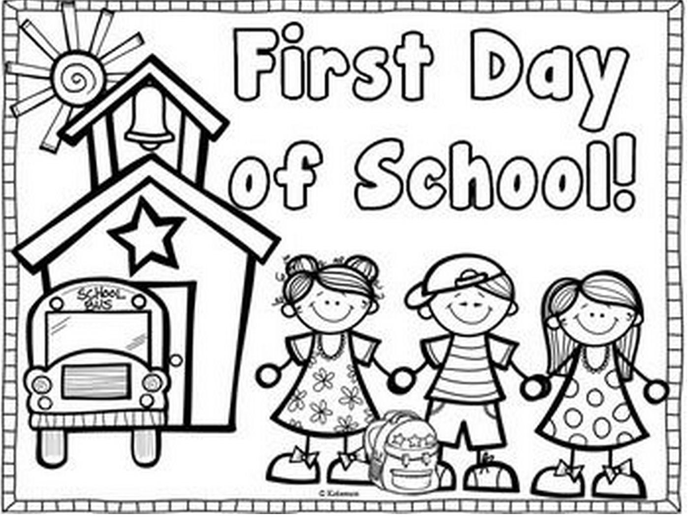 First Day Of School Coloring Page | Coloring Page Book - Free Printable First Day Of School Coloring Pages