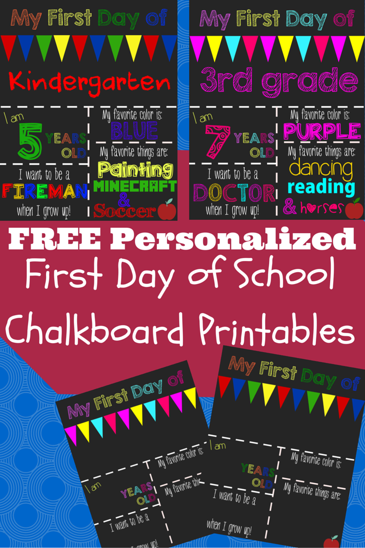 First Day Of School Printable Chalkboard Sign | School | 1St Day Of - My First Day Of Kindergarten Free Printable