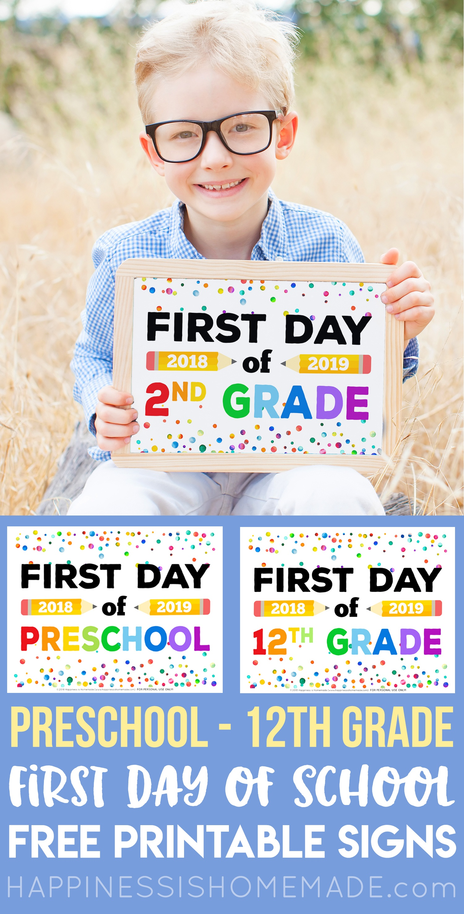 First Day Of School Signs - Free Printables - Happiness Is Homemade - Free Printable First Day Of School Signs 2018