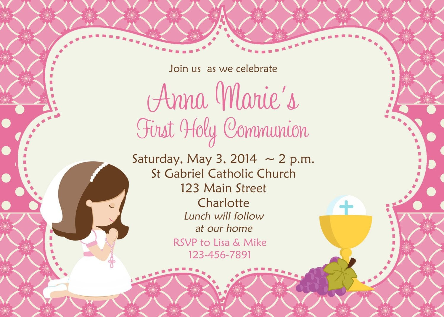 First Holy Communion Invitation Cards Free | Amber's Communion Ideas - Free Printable First Communion Invitation Cards