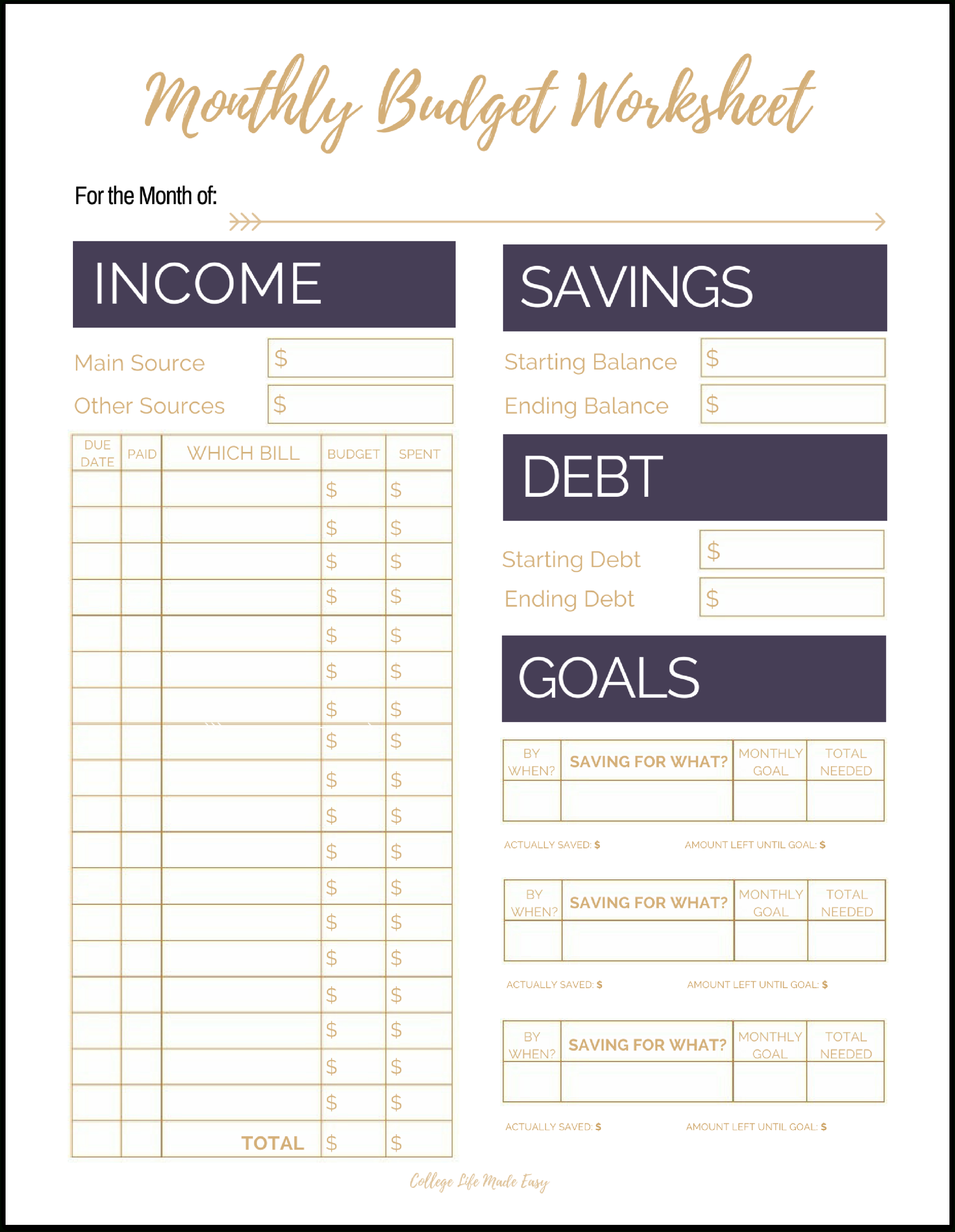 Fix Your Finances Asap With My (Free) Simple Monthly Budget Template - Free Printable Monthly Bills Worksheet