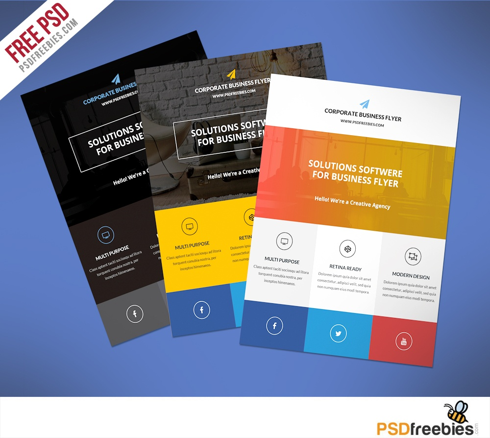 Flat Clean Corporate Business Flyer Free Psd | Psdfreebies - Free Printable Flyer Maker