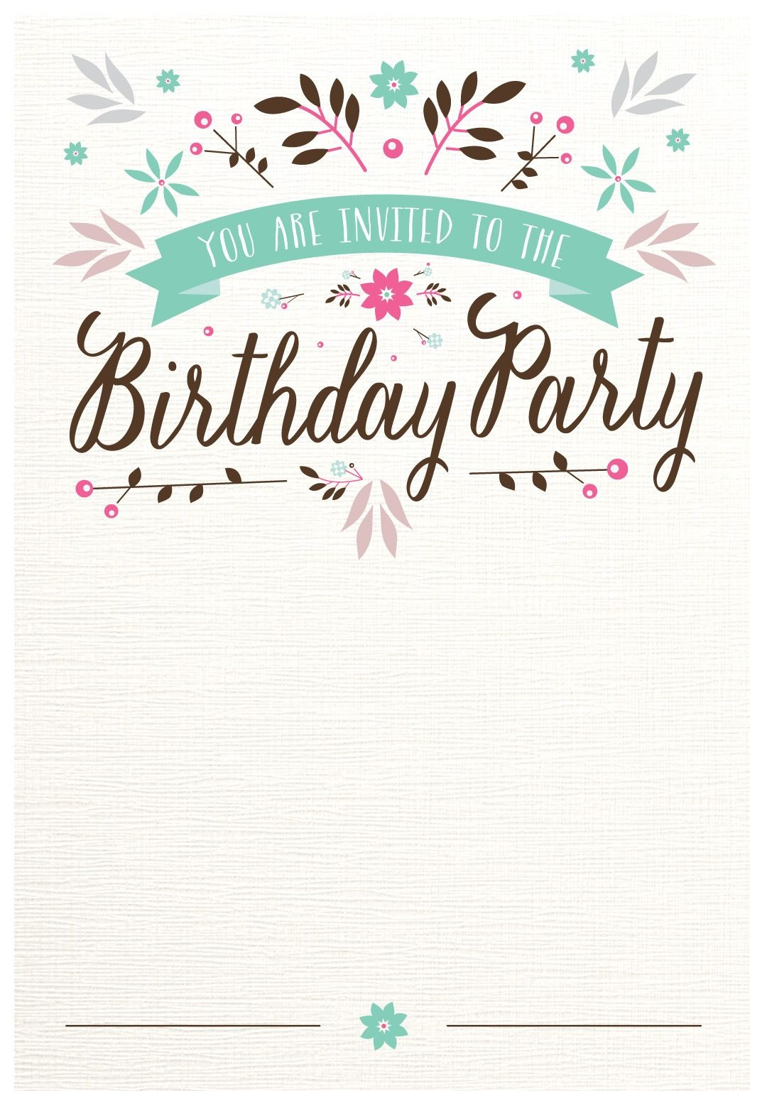 Flat Floral - Free Printable Birthday Invitation Template - Free Printable Party Invitations