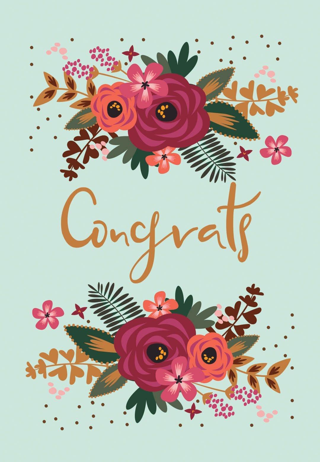 Floral Congrats - Free Printable Wedding Congratulations Card - Free Printable Wedding Shower Greeting Cards