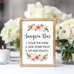 Floral Sangria Bar Printable Sign   Chicfetti   Free Sangria Bar Sign Printable