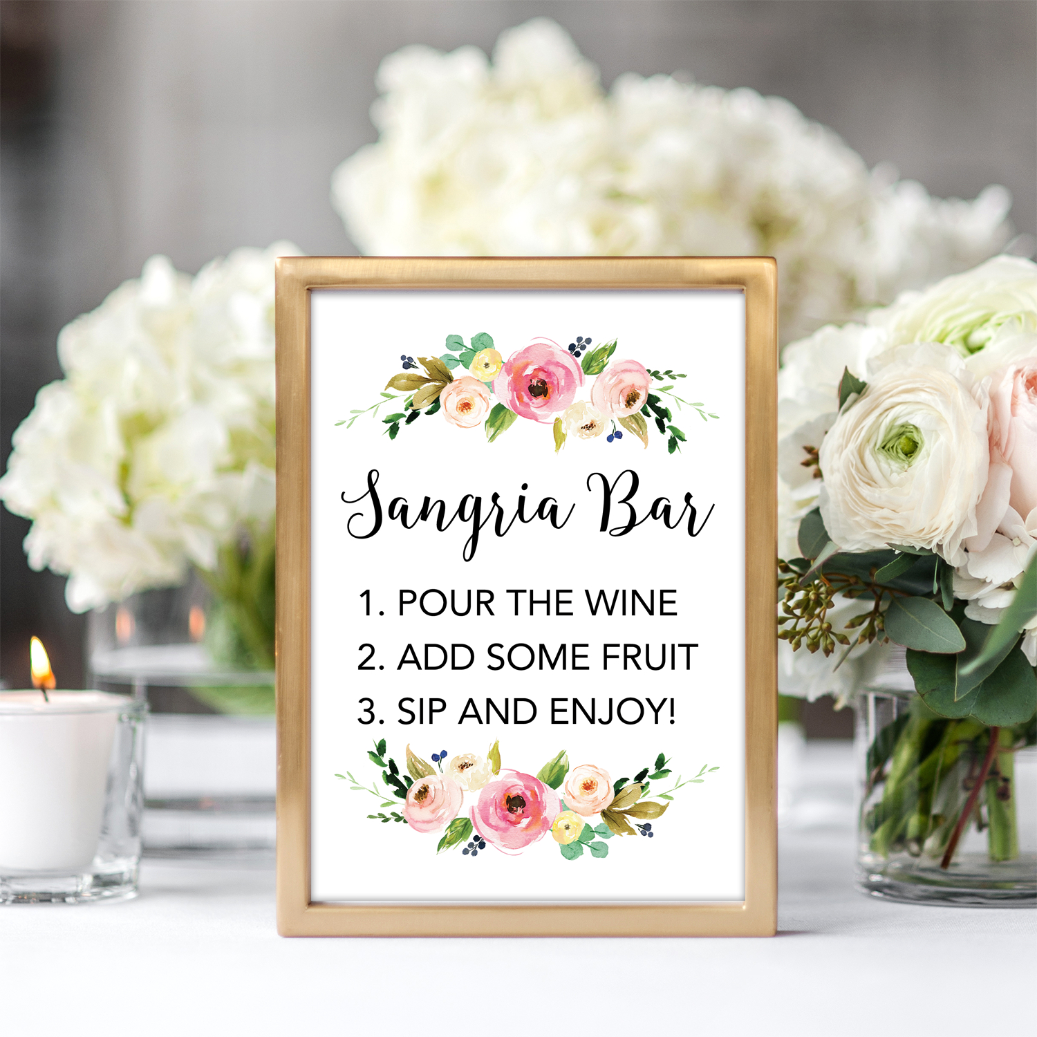 Floral Sangria Bar Printable Sign - Chicfetti - Free Sangria Bar Sign Printable