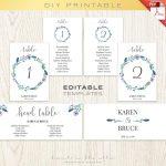 Floral Wedding Table Numbers Printable Template, Seating Chart   Free Printable Wedding Seating Plan