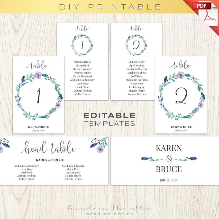 Floral Wedding Table Numbers Printable Template, Seating Chart - Free Printable Wedding Seating Plan