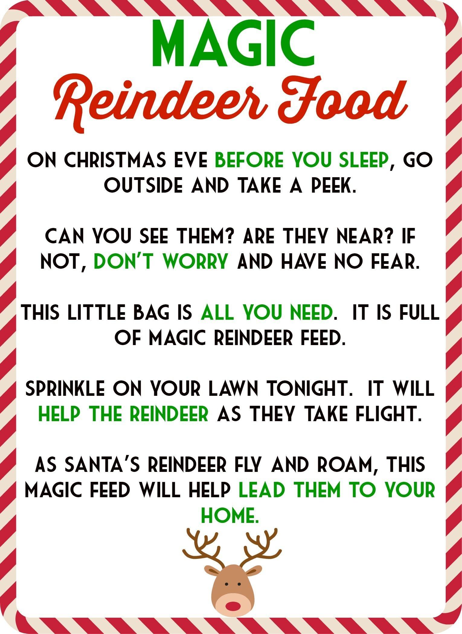 Food Recipes On | Kids | Magic Reindeer Food, Reindeer Food - Free Printable Reindeer Dust Poem