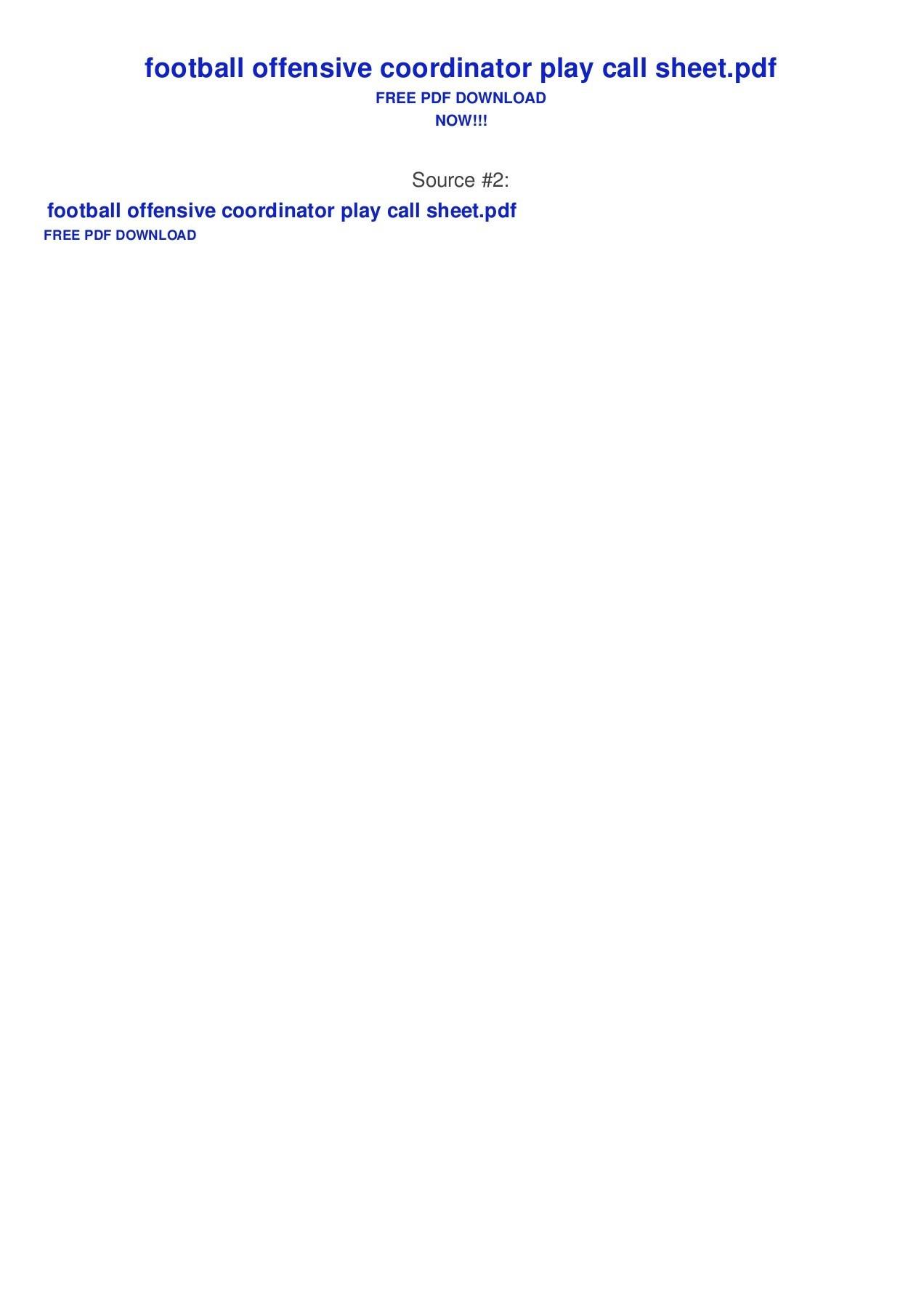 Football Offensive Coordinator Play Call Sheet Pages 1 - 2 - Text - Fantasy Football Draft Sheets Printable Free