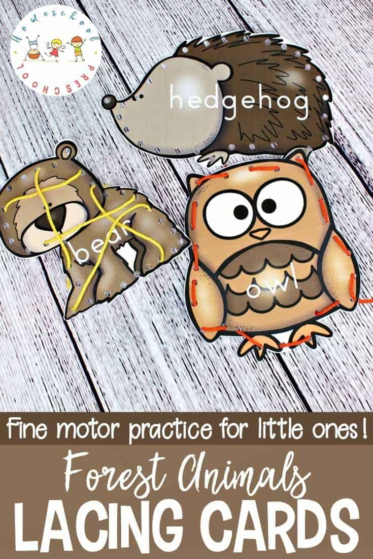 Forest Animal Printable Lacing Cards For Fine Motor Practice - Free Printable Lacing Cards