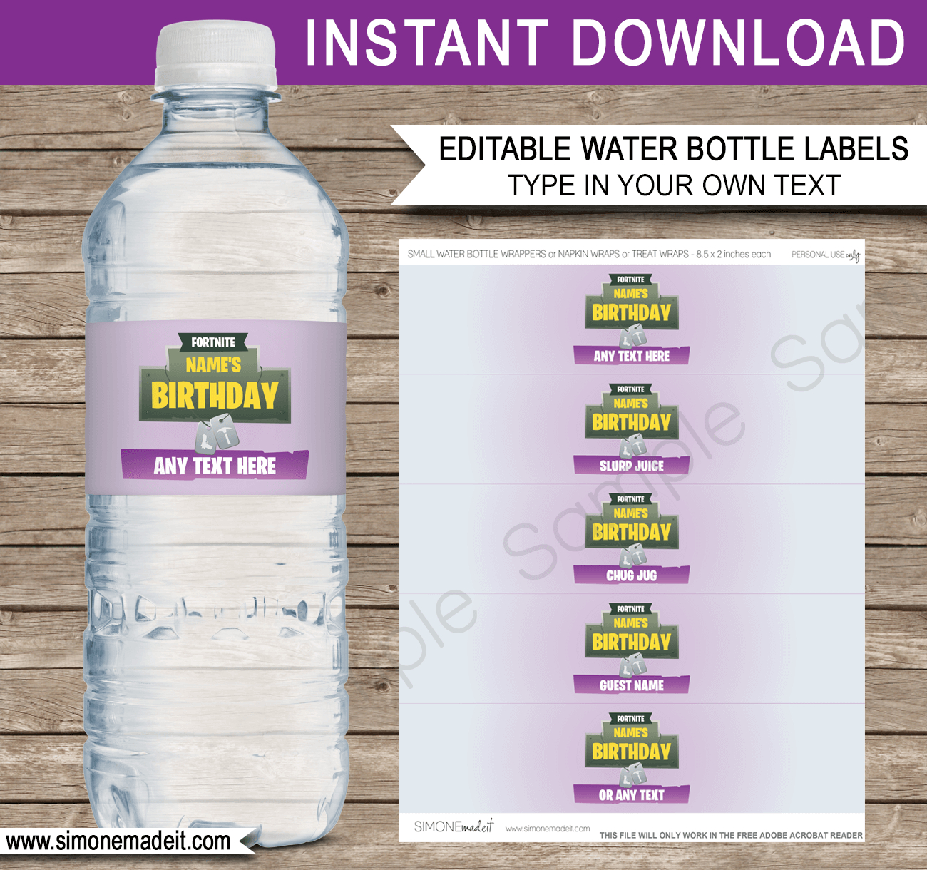 Fortnite Water Bottle Labels Template | Fortnite Birthday Party - Free Printable Cars Water Bottle Labels