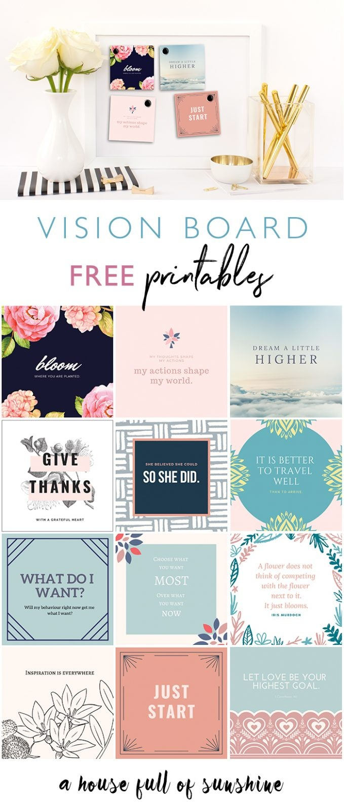 Free 2019 Vision Board Printables!   A House Full Of Sunshine - Free Weight Loss Vision Board Printables