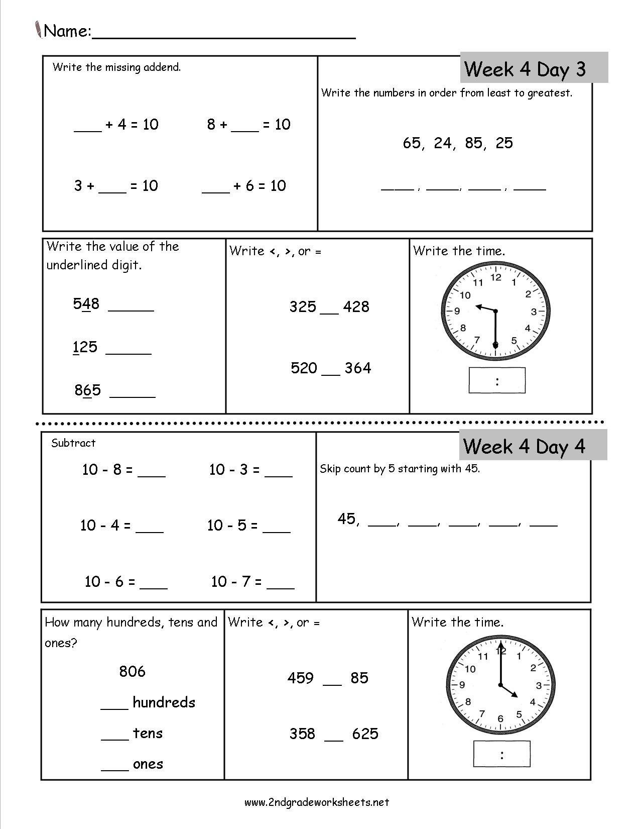 Free 2Nd Grade Daily Math Worksheets - Free Math Printables For 2Nd Grade