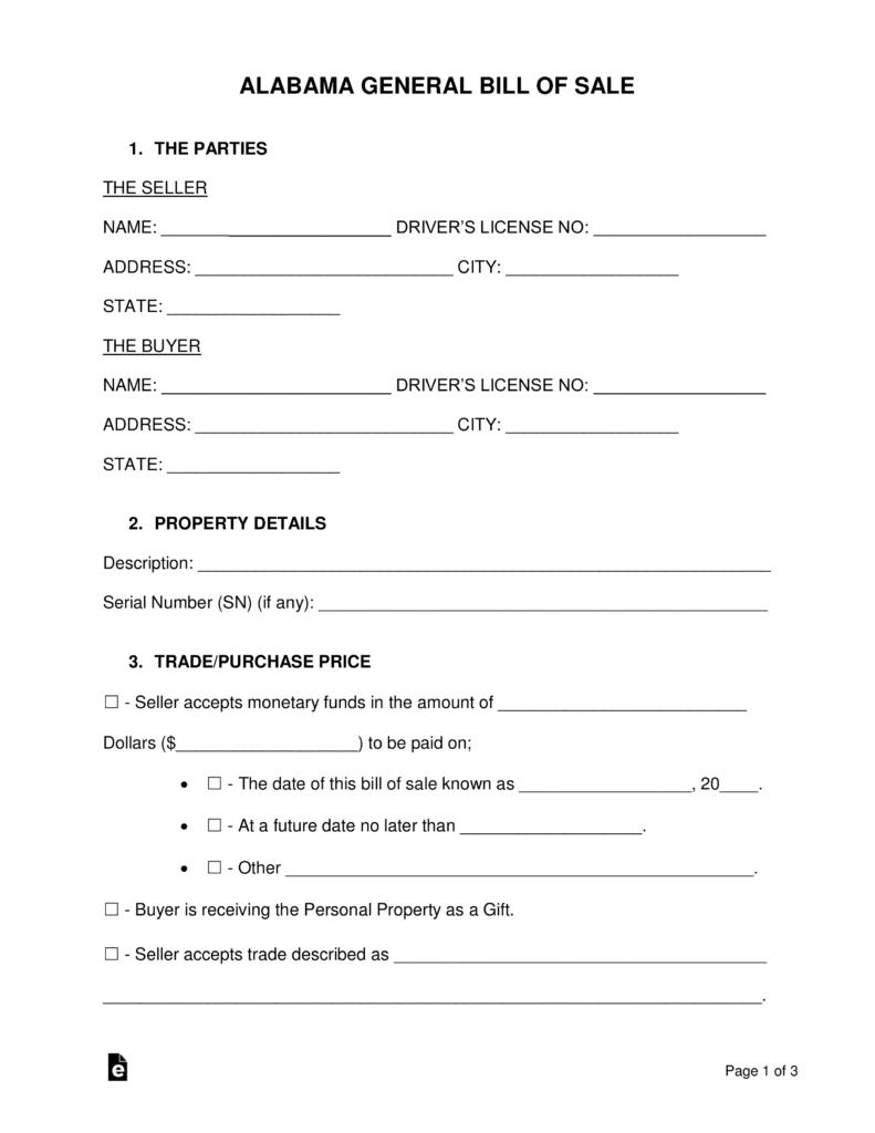 Free Alabama General Bill Of Sale Form - Word | Pdf | Eforms – Free - Free Printable Bill Of Sale For Vehicle In Alabama